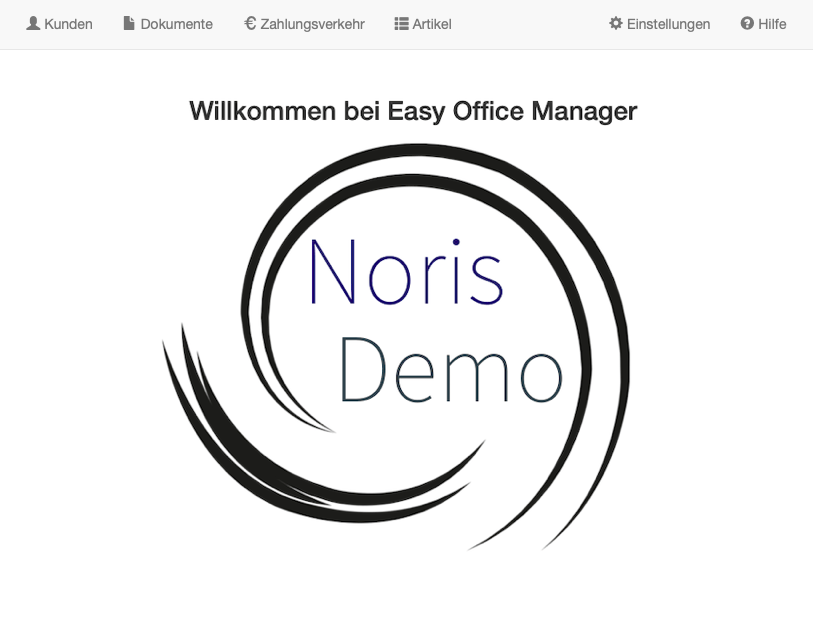 Startseite des Easy Office Manager